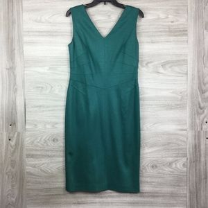 Escada Green Sleeveless V Neck Mini Dress